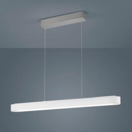 Hanglamp Bora led, mat nikkel met witte kap 100 cm