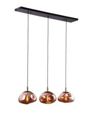 Hanglamp Rodewolk 300, 3-lichts balk met amber glas