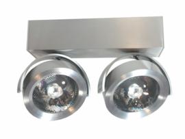 Plafondspot  QR0002-41 led, 2-lichts mat nikkel incl led