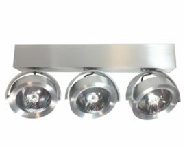 Plafondspot  QR0003-41 led, 3-lichts mat nikkel incl led
