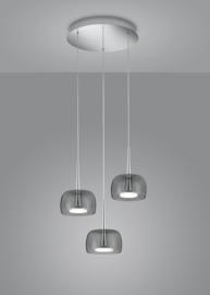 Hanglamp Flute led, 3-lichts rond nikkel met grijs rook glas