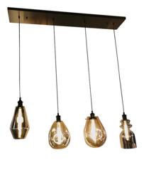 Hanglamp Vincent, 4-lichts met rookglas met balk
