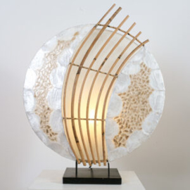 Tafellamp Julia, parlemour beige 45 cm