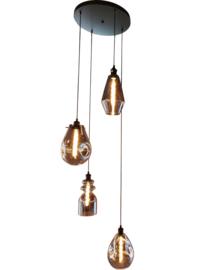 Hanglamp Vincent, 4-lichts met rookglas