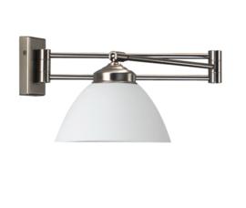 Wandlamp Calimero, zwenkbaar mat wit glas