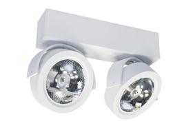 Plafondspot  QR0012W led, 2-lichts mat wit incl led