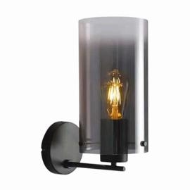 Wandlamp Ventotto, zwart met smoke glas