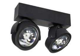 Plafondspot  QR0012B led, 2-lichts mat zwart incl led