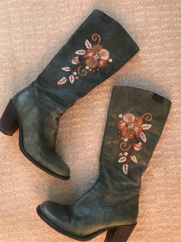 Leren groene Vintage laarzen