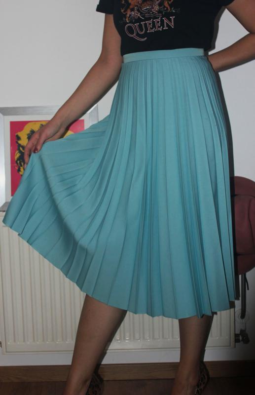 Blauwe vintage swing rok