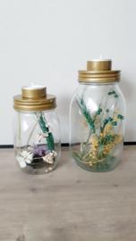Droogbloemen in glas - Waxinelicht