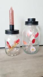 Droogbloemen in glas - Kandelaar