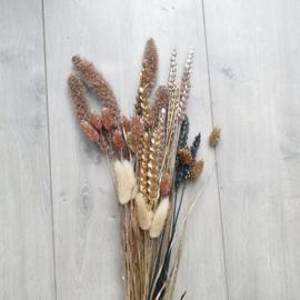 Gemixte bos droogbloemen - Goud/rosegold