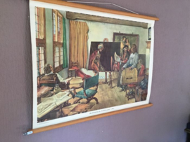 School/wandplaat, Rembrandt in zijn schilders kamer/education poster original