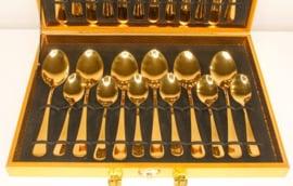 Bestek 24 delig, Goldplated dining gear