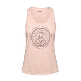 Roze yoga tanktop met Ganesha