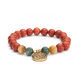 Mala bracelet, red jasper, moss agate & tiger eye