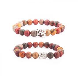 Mala bracelets (Set of 2), brown Jasper Picasso Stone
