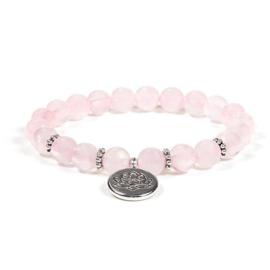 Mala/armband rozenkwarts elastisch met lotus -- 0.8 cm