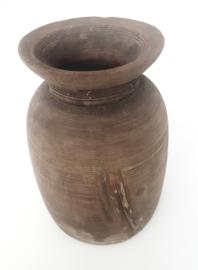 Oud houten vaas/voorraadpot
