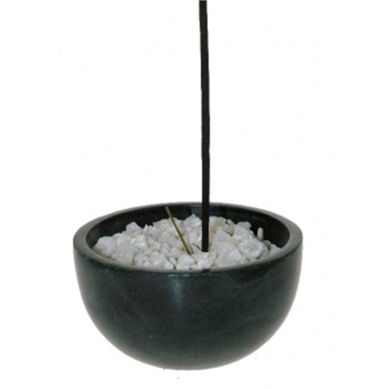 Wierookbakje zwart zeepsteen met witte steentjes