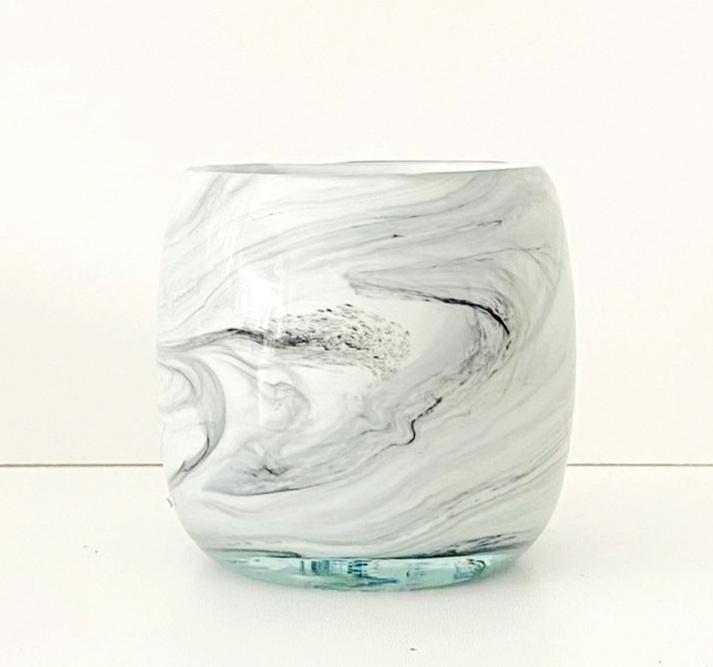 Theelichthouder Marble white
