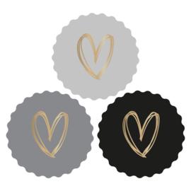 Cadeaustickers grijs/ zwart met gouden hart | 12 stuks