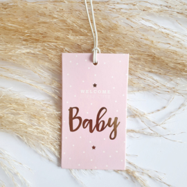 Cadeaulabel Birds and the Bees Welcome Baby Pink | 1 stuk
