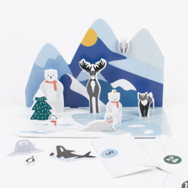 X-mas advent calender polar animals blue | 1 stuk