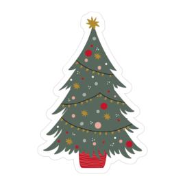 Cadeaustickers kerstboom | 12 stuks