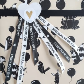 Krullint paperlook zwart - Enjoy your gift | 5 meter