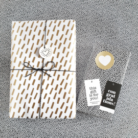 Cadeaupapier Open Spaces goud/wit en zwart | 3 meter