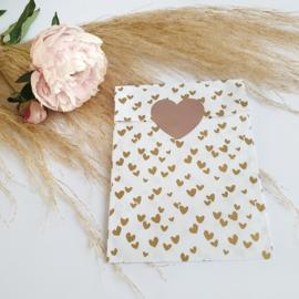 Cadeauzakjes Solo hearts goud/ rose medium | 5 stuks