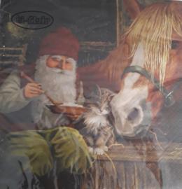 Servetten 'tomte met paard'