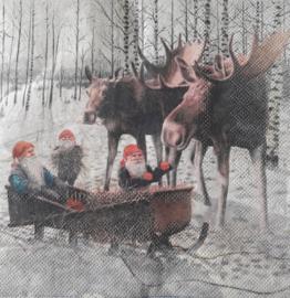 Servetten 'tomte met eland'