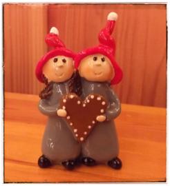 Kerstbeeldje  Juul & Juliette 'hart'