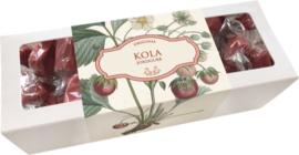 Doosje toffees 'aardbeien' (motief verp. aardbeienplant)