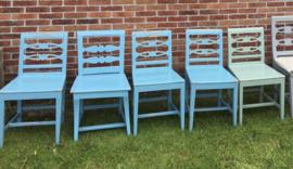Zweedse stoelen (Frykdals stoelen) blauw/groen