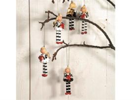Kerstboomhanger 'engeltje zwart/wit'
