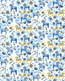 Stof 'dalahäst blauw/geel'