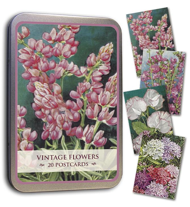 Blik met 20 kaarten (10 x 15 cm) 'vintage bloemen'
