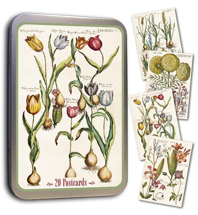 Blik met 20 kaarten (10 x 15 cm) 'lente bloemen'