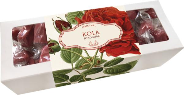 Doosje toffees 'aardbeien' (motief verp. roos)