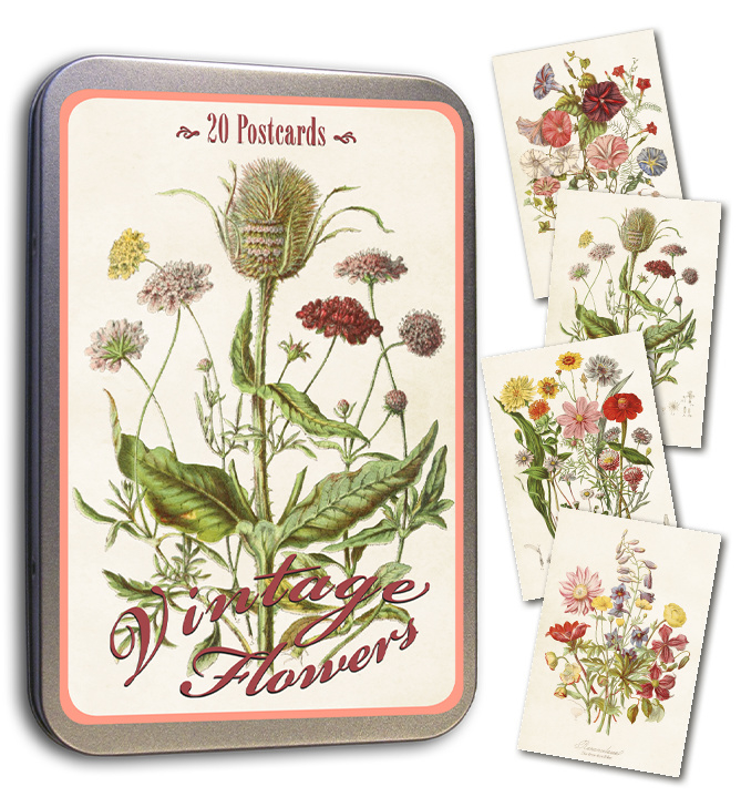 Blik met 20 kaarten (10 x 15 cm) 'veldbloemen'