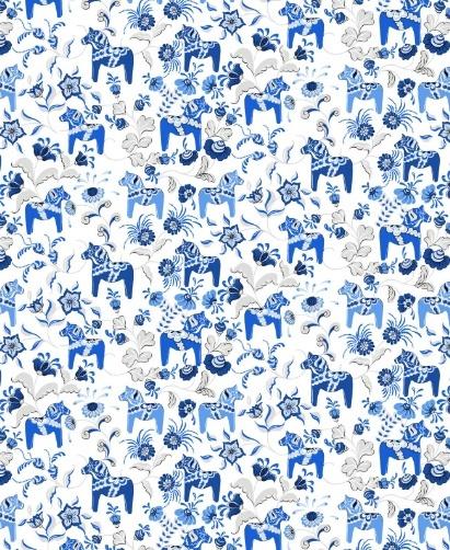 Stof 'dalahäst blauw'