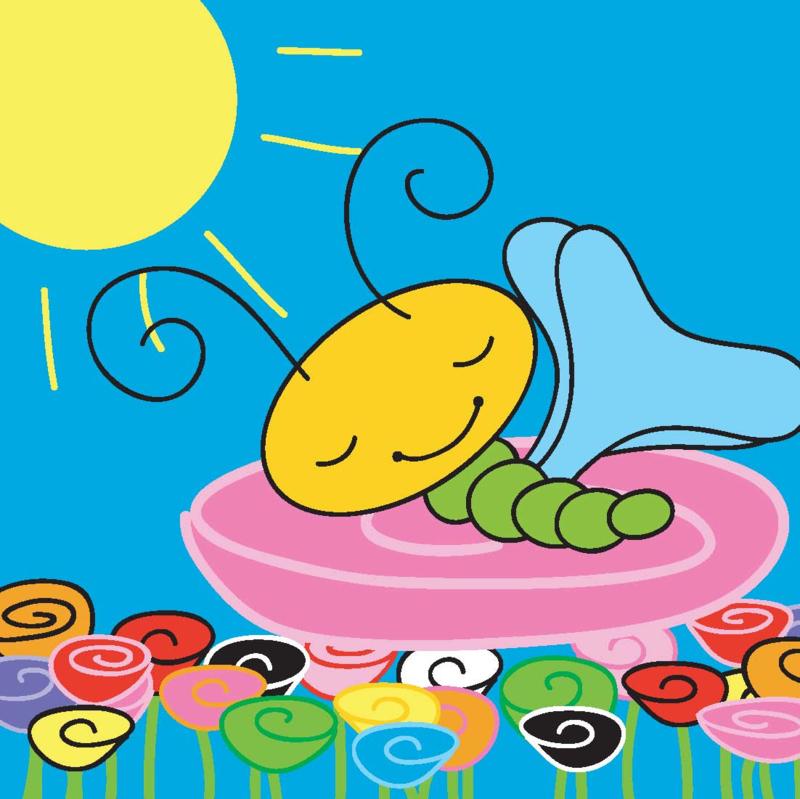 Kaart Lizzy slapend op bloem