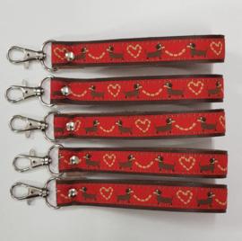 Sleutelhanger met musketonhaak rood, Teckel