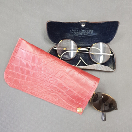 Brillenkoker Crocoprint Rood 01