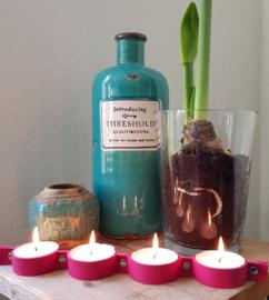 Roze Lederen Waxinelichthouder inclusief 4 grote lichten