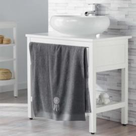 handdoek bad, antraciet 70 x 130 cm, spons geborduurde talisman